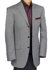 Wool & Silk Three-Button Notch Lapel Houndstooth Sport Coat