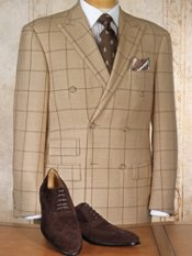 100% Wool Double-Breasted Windowpane Sportcoat