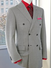 Wool& Silk Double Breasted Houndstooth Sport Coat