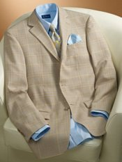 Plaid Three-Button Wool Sportcoat