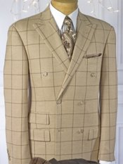 100% Wool Windowpane Double-Breasted Sport Coat