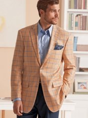 Silk & Wool Two-Button Notch Lapel Herringbone Windowpane Sport Coat