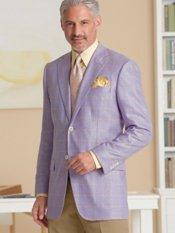 Silk & Wool Two-Button Notch Lapel Herringbone Windowpane Sport Coat
