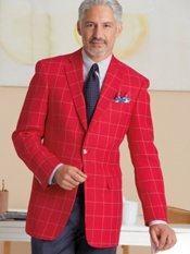 Linen & Wool Two-Button Notch Lapel Windowpane Sport Coat