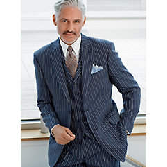 Navy Stripe Pure Linen Sport Coat $160.00 AT vintagedancer.com