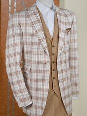 Brown Plaid Pure Linen Sport Coat