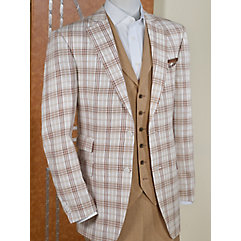 Brown Plaid Pure Linen Sport Coat $130.00 AT vintagedancer.com