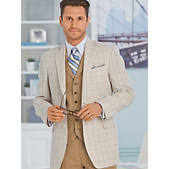Natural Windowpane Pure Linen Sport Coat $190.00 AT vintagedancer.com