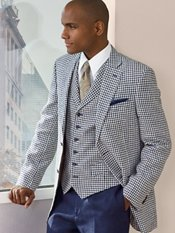 Navy Check Pure Linen Sport Coat