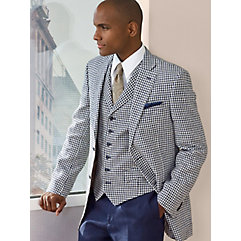 Navy Check Pure Linen Two-Button Sport Coat