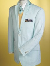 Cotton Seersucker Stripe Two-Button Sport Coat