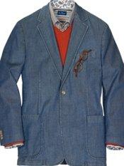Cotton Denim Two-Button Sport Coat