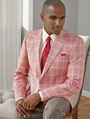 Red Windowpane Wool & Silk Sport Coat