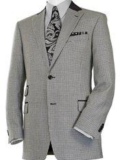 Black & White Houndstooth Wool & Silk Sport Coat