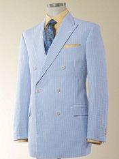 Blue Stripe Seersucker Pure Cotton Sport Coat