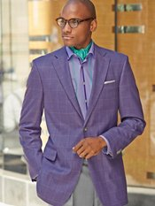 Purple Windowpane Wool & Silk Sport Coat