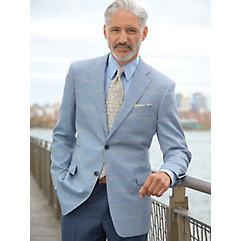 Sky Blue with Yellow Windowpane Linen  Cotton Sport Coat $270.00 AT vintagedancer.com