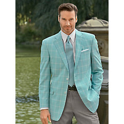 Men's Vintage Style Suits, Classic Suits Seafoam Windowpane Wool Sport Coat $280.00 AT vintagedancer.com
