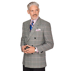 Men's Vintage Style Suits, Classic Suits Black  White Houndstooth Windowpane Wool  Silk Sport Coat $300.00 AT vintagedancer.com