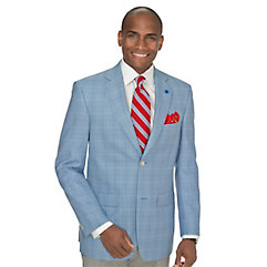 Men's Vintage Style Suits, Classic Suits Blue Windowpane Wool Sport Coat $260.00 AT vintagedancer.com
