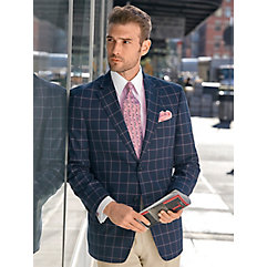 Men's Vintage Style Suits, Classic Suits Navy Windowpane Cotton Sport Coat $270.00 AT vintagedancer.com
