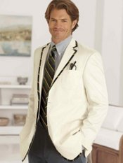 Cotton Stripe Two-Button Sport Coat