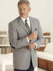 Wool Blend Gingham Three-Button Sport Coat