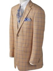 Silk & Wool Windowpane Two-Button Sport Coat