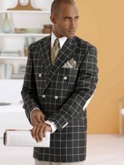 Silk & Wool Windowpane Double-Breasted Sport Coat