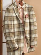 Italian Linen Plaid Two-Button Sport Coat