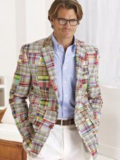 Cotton Madras Patchwork Two-Button Sport Coat