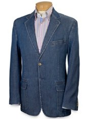 Cotton Denim Two-Button Sport Coat