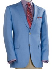 100% Linen Two-Button Notch Lapel Solid Sport Coat