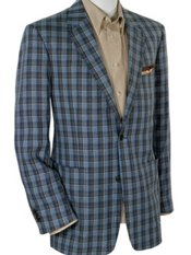 100% Linen Two-Button Notch Lapel Plaid Sport Coat