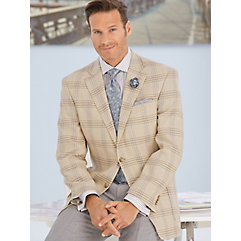 Tan  Grey Windowpane Pure Linen Sport Coat $210.00 AT vintagedancer.com