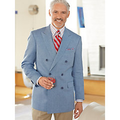 Sky Blue Basketweave Donegal Pure Linen Double Breasted Sport Coat $180.00 AT vintagedancer.com