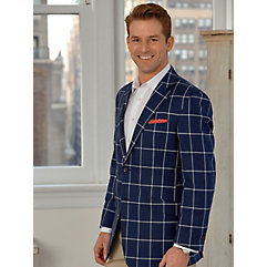 Navy with White Windowpane Cotton Sport Coat $260.00 AT vintagedancer.com