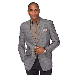 Charcoal with Brown and Tan Windowpane Wool  Silk Sport Coat $270.00 AT vintagedancer.com