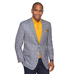 Blue with Pale Yellow and Orange Windowpane Silk  Wool Sport Coat $270.00 AT vintagedancer.com