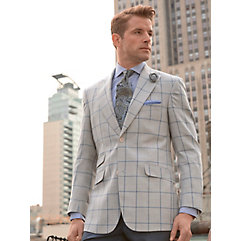Pearl Grey with Blue Windowpane Pure Wool Sport Coat $270.00 AT vintagedancer.com