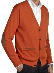100% Cotton Suede-Trim Cardigan Sweater