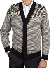 100% Cotton Multi Pattern Cardigan Sweater