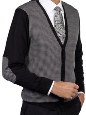 Silk & Cotton Houndstooth Cardigan Sweater