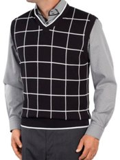 100% Cotton Windowpane V-Neck Sweater Vest
