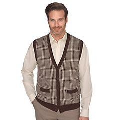 Classic 1940s Men's Suits, Zoot Suits 100 Cotton Houndstooth Plaid Button Front Cardigan Sweater Vest $45.00 AT vintagedancer.com