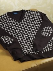 100% Cotton Windowpane V-Neck Collar Sweater