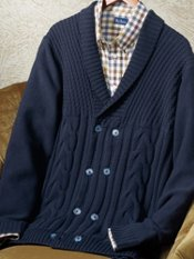 100% Cotton Cable Double-Breasted Cardigan Sweater