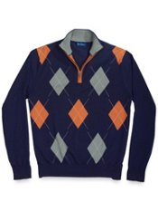 100% Cotton Argyle 1/2 Zip Mock Collar Sweater