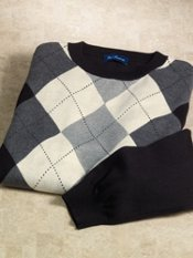 Silk, Cotton & Cashmere Argyle Crew Sweater