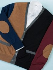 Wool Blend Color-Block Cardigan Sweater